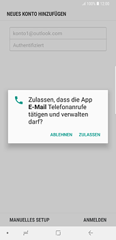 Samsung Galaxy S8 Plus - Android Oreo - E-Mail - Konto einrichten (outlook) - Schritt 8