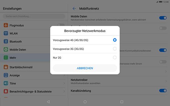 Huawei MediaPad T3 (10.0) LTE - Netzwerk - Netzwerkeinstellungen ändern - 7 / 8