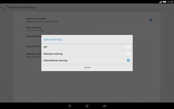 Sony Xperia Tablet Z2 LTE - Internet and data roaming - Disabling data roaming - Step 7