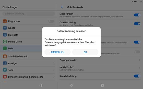Huawei MediaPad T3 (10.0) LTE - Ausland - Im Ausland surfen – Datenroaming - 9 / 12