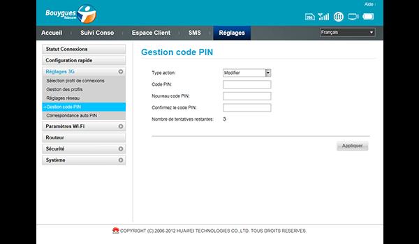 Huawei E587 - Sécuriser votre mobile - Personnaliser le code PIN - Étape 8