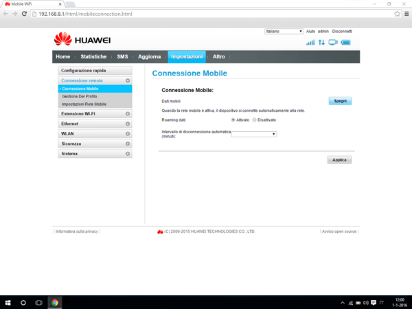 Huawei E5770 - Internet e roaming dati - Disattivazione del roaming dati - Fase 4