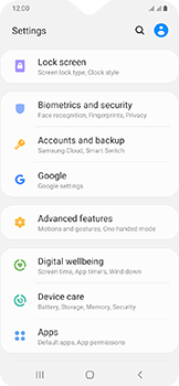 Samsung Galaxy A20e - Device - Enable Find my Phone - Step 4
