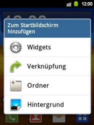 Samsung Galaxy Y - Startanleitung - Installieren von Widgets und Apps auf der Startseite - Schritt 3