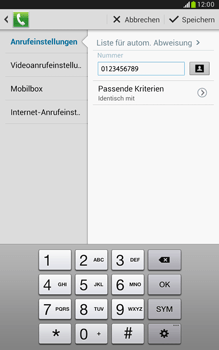 Samsung N5100 Galaxy Note 8-0 - Anrufe - Anrufe blockieren - Schritt 12