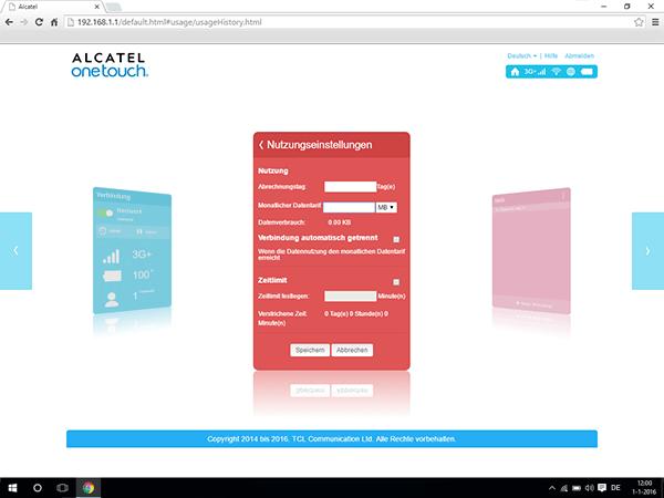 Alcatel MiFi Y900 - Einstellungen - Benutzereinstellungen ändern - Schritt 5
