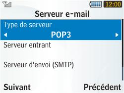 Samsung S3350 Chat 335 - E-mail - Configuration manuelle - Étape 13