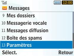 Samsung S3350 Chat 335 - SMS - Configuration manuelle - Étape 4