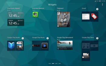 Samsung T805 Galaxy Tab S - Getting started - Installing widgets and applications on your start screen - Step 5