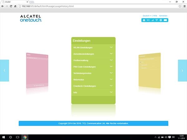 Alcatel MiFi Y900 - Einstellungen - Benutzereinstellungen anzeigen - Schritt 3