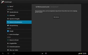 Sony Xperia Tablet Z LTE - Fehlerbehebung - Handy zurücksetzen - Schritt 9