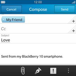BlackBerry Q10 - E-mail - Sending emails - Step 10