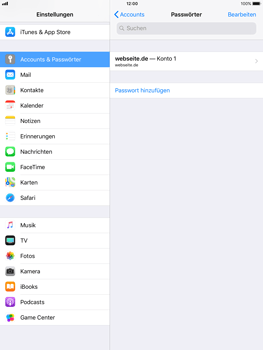 Apple iPad mini 2 - iOS 11 - Anmeldedaten hinzufügen/entfernen - 5 / 13