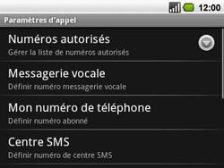 Acer BeTouch E130 - Messagerie vocale - configuration manuelle - Étape 5