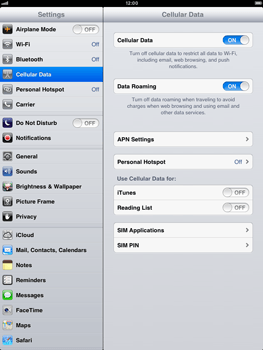 Apple iPad mini - Internet and data roaming - Disabling data roaming - Step 4