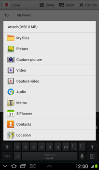 Samsung P3100 Galaxy Tab 2 7-0 - E-mail - Sending emails - Step 11
