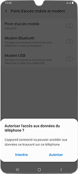 Samsung Galaxy A70 - Internet et connexion - Utiliser le mode modem par USB - Étape 7