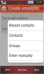 Samsung S5230 Star - E-mail - Sending emails - Step 7