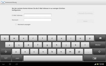 Sony Xperia Tablet Z LTE - E-Mail - Konto einrichten - 1 / 1