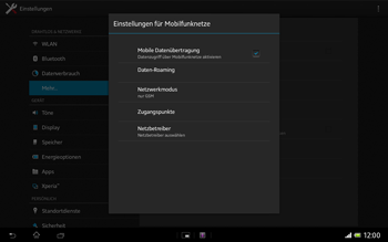 Sony Xperia Tablet Z LTE - Netzwerk - Netzwerkeinstellungen ändern - Schritt 8