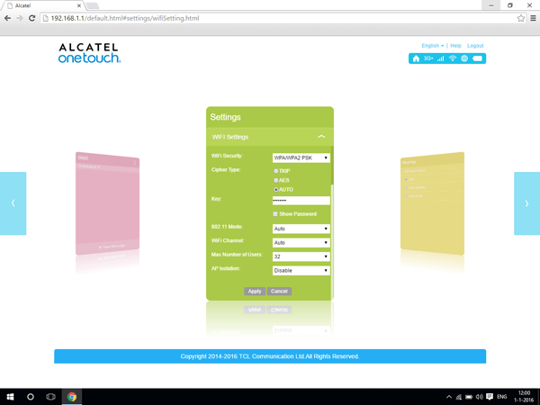 Alcatel MiFi Y900 - Settings - Change the number of users - Step 4