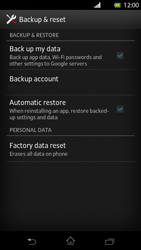 Sony Xperia T - Mobile phone - Resetting to factory settings - Step 5