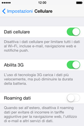 Apple iPhone 4S iOS 7 - Internet e roaming dati - Disattivazione del roaming dati - Fase 5