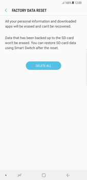 Samsung Galaxy Note 8 - Mobile phone - Resetting to factory settings - Step 8