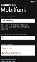 Nokia Lumia 800 / Lumia 900 - Netzwerk - Manuelle Netzwerkwahl - Schritt 6