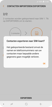 Samsung Galaxy S9 Plus (SM-G965F) - Contacten en data - Contacten kopiëren van toestel naar SIM - Stap 12