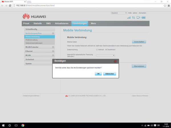 Huawei E5770 - Internet und Datenroaming - Deaktivieren von Datenroaming - Schritt 6