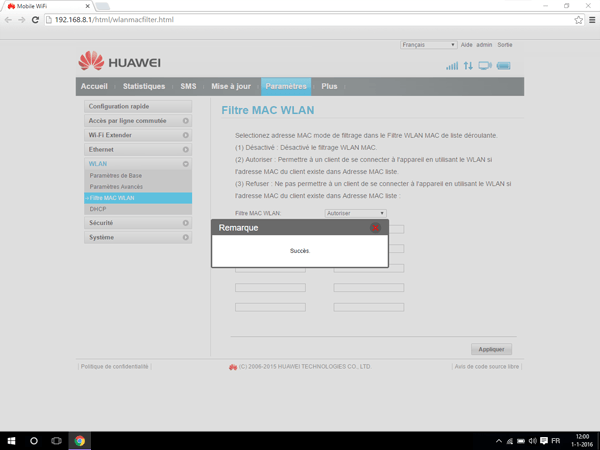 Huawei E5770 - Paramètres - Activer un filtre MAC - Étape 8