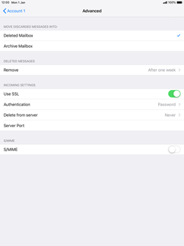 Apple iPad mini 4 iOS 12 - E-mail - Manual configuration POP3 with SMTP verification - Step 23