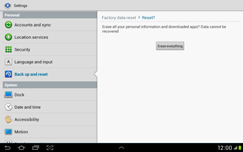 Samsung Galaxy Tab 2 10.1 - Mobile phone - Resetting to factory settings - Step 7