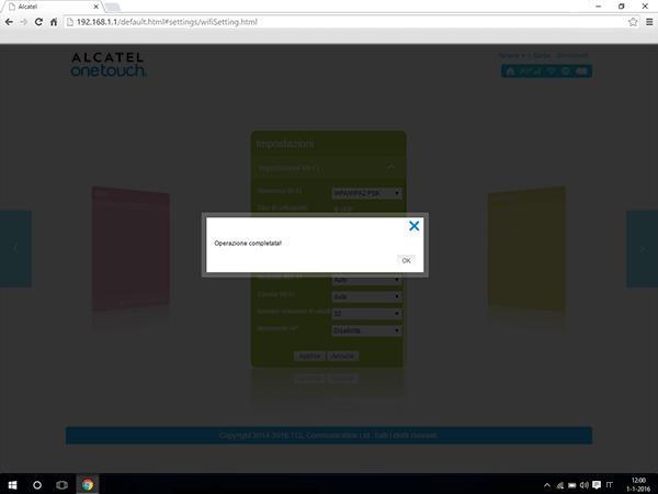 Alcatel MiFi Y900 - Impostazioni - modificare nome della rete e password - Fase 8