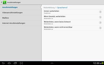 Samsung Galaxy Note 10-1 - Anrufe - Rufumleitungen setzen und löschen - 8 / 11