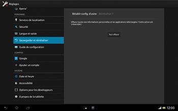 Sony Xperia Tablet Z LTE - Téléphone mobile - Réinitialisation de la configuration d
