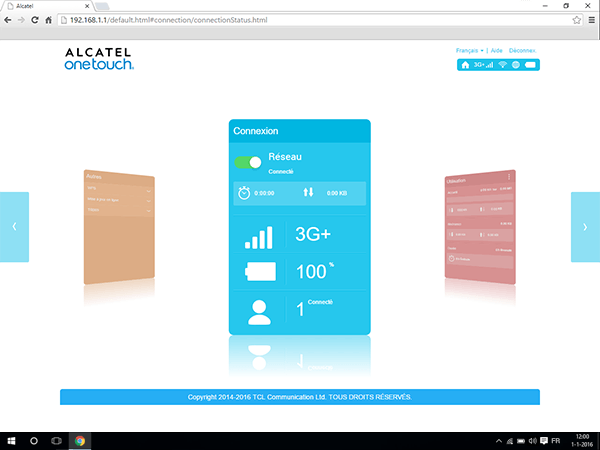 Alcatel MiFi Y900 - Paramètres - Changer le mode WLAN - Étape 1