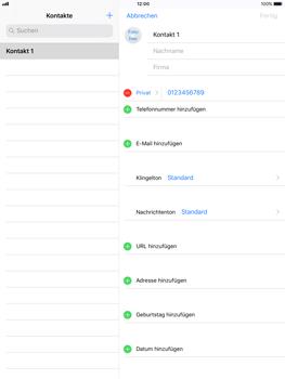 Apple iPad Pro 9.7 inch - Kontakte - Neuen Kontakt hinzufügen - 9 / 12