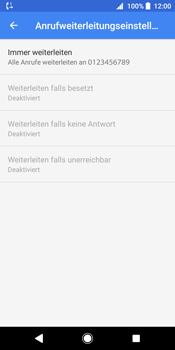 Sony Xperia XZ2 - Anrufe - Rufumleitungen setzen und löschen - 12 / 13