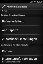 Sony Xperia Miro - Anrufe - Rufumleitungen setzen und löschen - 5 / 9