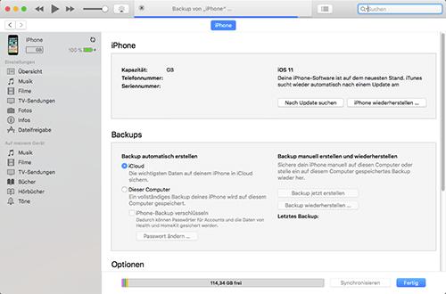 Apple iPhone 6 - Software - Sicherungskopie Ihrer Daten erstellen - 2 / 2