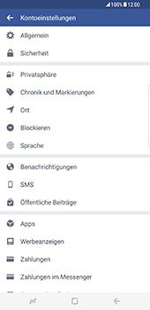 Samsung Galaxy S8 Plus - Datenschutz und Sicherheit - Datenschutzeinstellungen von Facebook ändern - 29 / 35