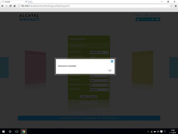 Alcatel MiFi Y900 - Impostazioni - Modificare il numero di utenti - Fase 7