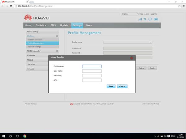 Huawei E5770 - Settings - View operator settings - Step 6