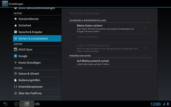 Asus Padfone 2 - Fehlerbehebung - Handy zurücksetzen - Schritt 8