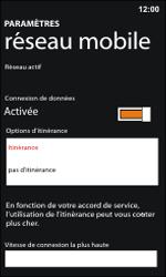 Nokia Lumia 800 / Lumia 900 - Internet et roaming de données - Désactivation du roaming de données - Étape 6