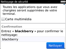 BlackBerry 9720 - Aller plus loin - Restaurer les paramètres d'usines - Étape 8