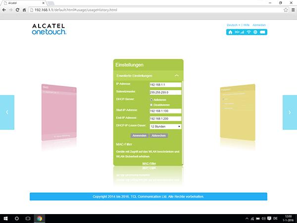 Alcatel MiFi Y900 - Einstellungen - MAC-Filter aktivieren - Schritt 4