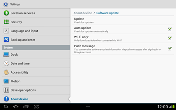 Samsung Galaxy Tab 2 10.1 - Software - Installing software updates - Step 7